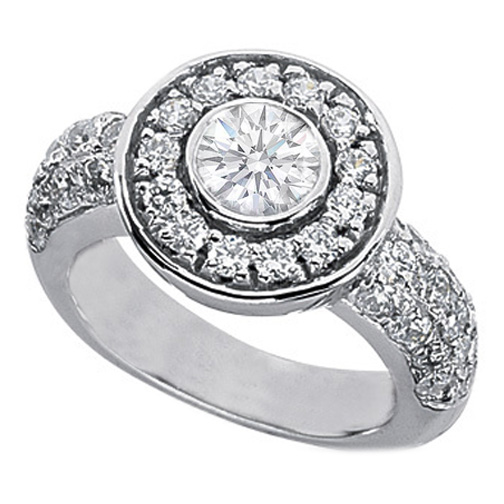 2.05 Carat Round Diamond Vintage Style Bezel Set Engagement Ring