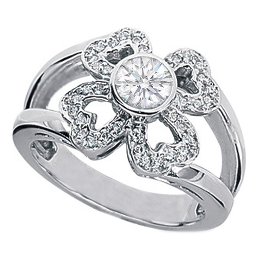 0.38 Carat Multi Hearts Diamond Flower Engagement Ring