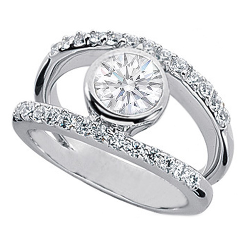 0.77 Carat Round Diamond Bezel Set Split Band Engagement Ring