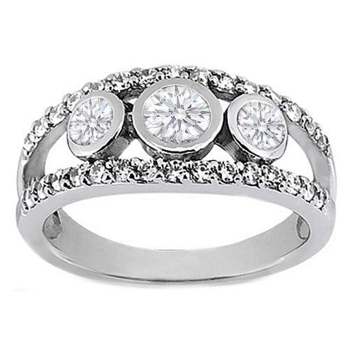 Three Stone Round Diamond Bezel Split Band Engagement Ring 0.92 Carat TW