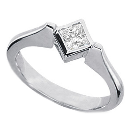 0.40 Carat Princess Diamond Petite Engagement Ring