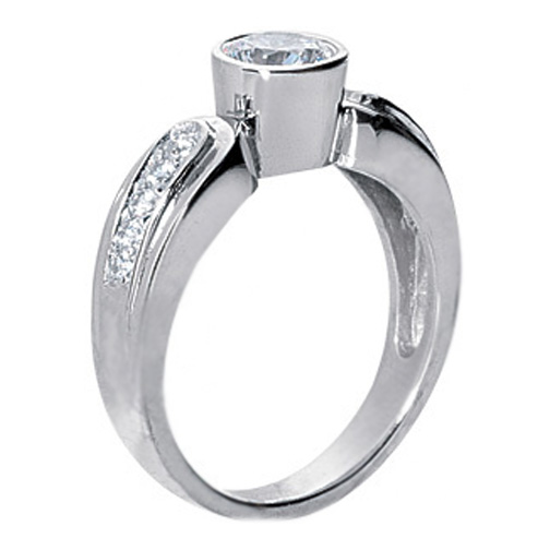 0.80 Carat Round Diamond Bezel Horseshoe Engagement Ring
