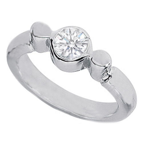 Half Carat Round Diamond Bezel Engagement Ring