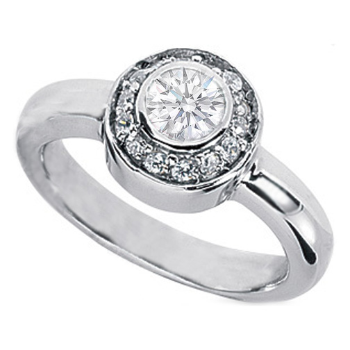 0.71 Carat Round Bezel Set Diamond Halo Petite Engagement Ring