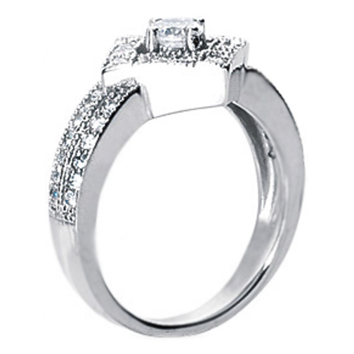 0.60 Carat Pave Diamond Shaped Engagement Ring