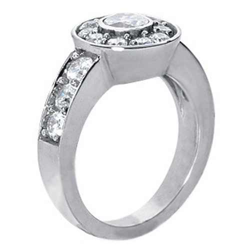 1.95 Carat Round Diamond Bezel Engagement Ring