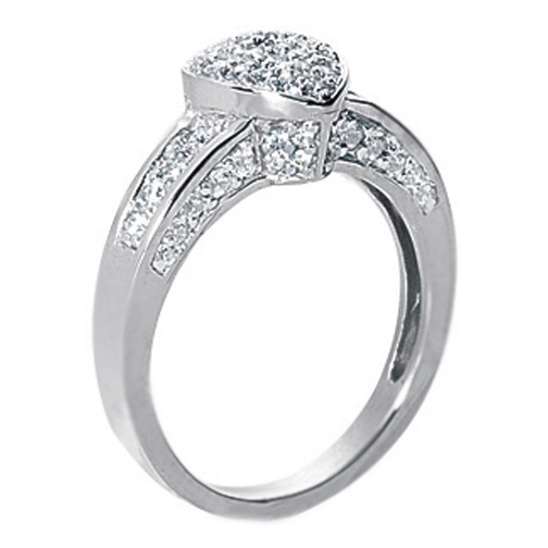 Heart Shaped pave diamonds Ring 0.80 TCW