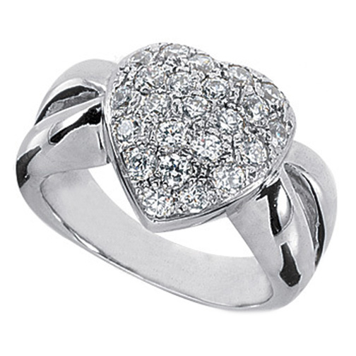 Heart Shaped pave diamonds Ring Split Band 0.92 tcw