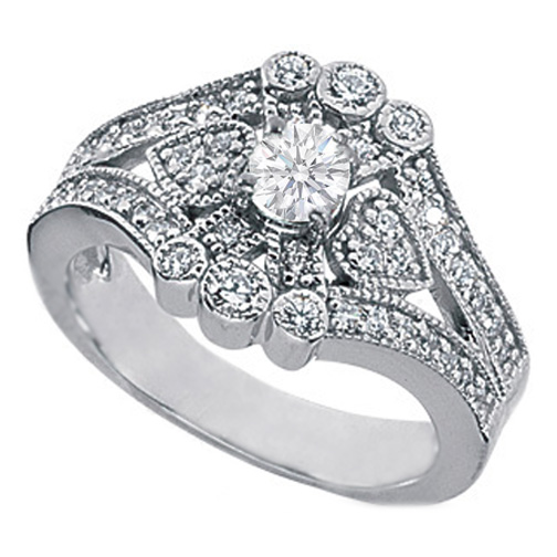 Vintage Flower Diamond Engagement Ring 0.75 TCW