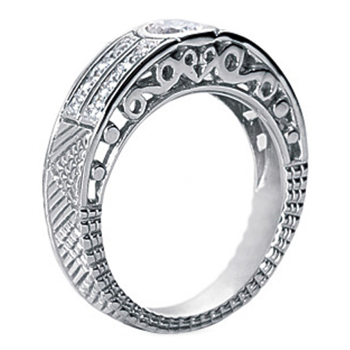 0.57 Carat Bezel Set Round Diamond Filigree Engaged Ring