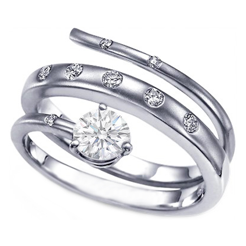 Unique Intertwined Bezel Set Spiral Swirl Engagement Ring 0.43 tcw.