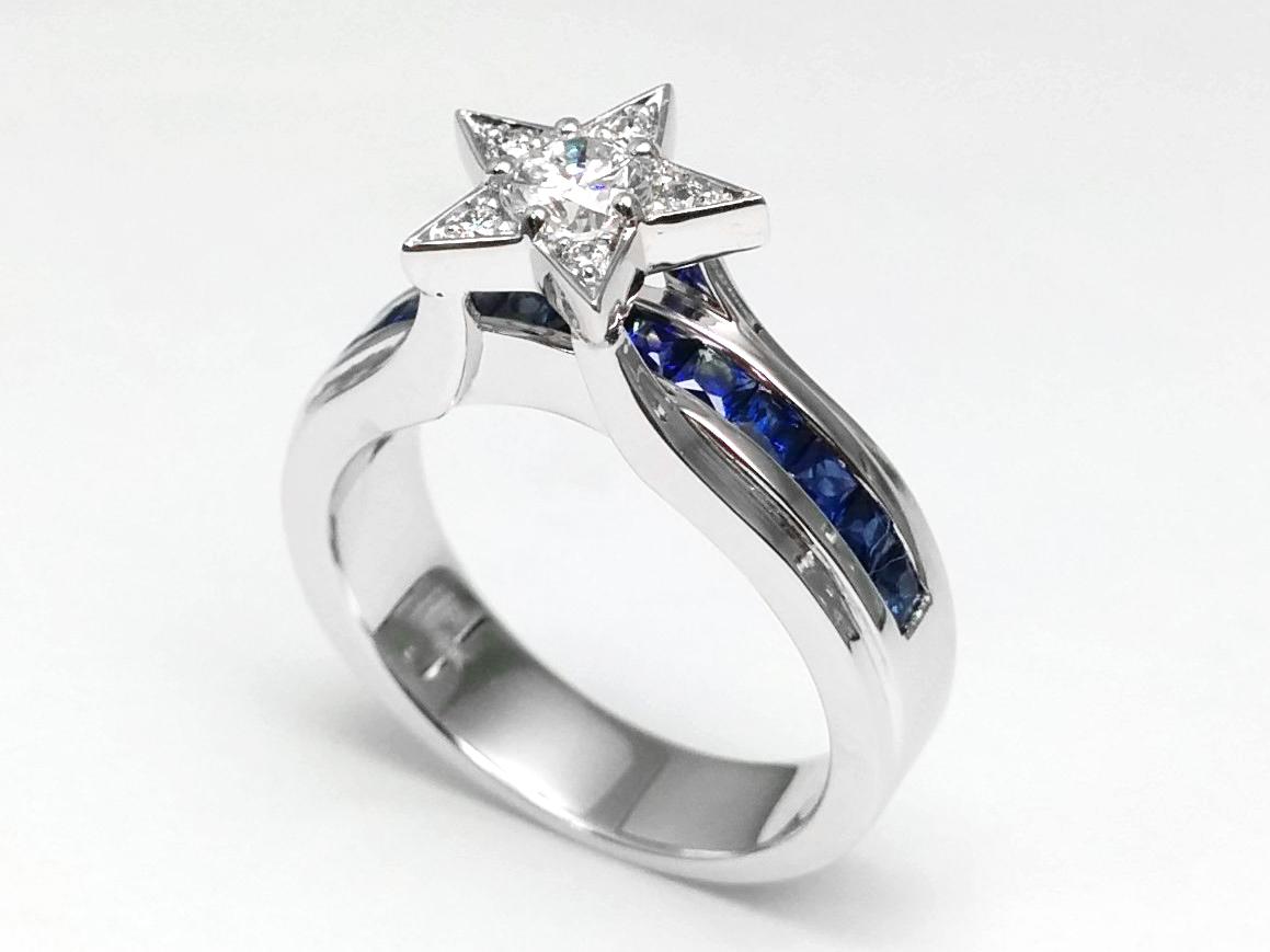 European Engagement Ring Diamond Star Blue Sapphire Bridge
