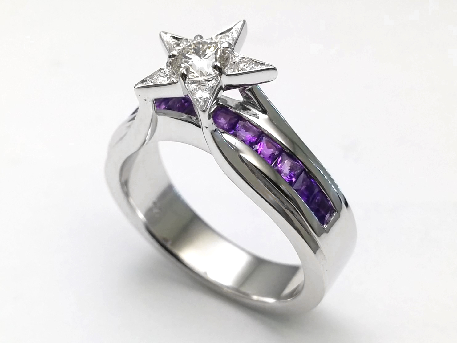 Diamond Star Amethyst Bridge Engagement Ring