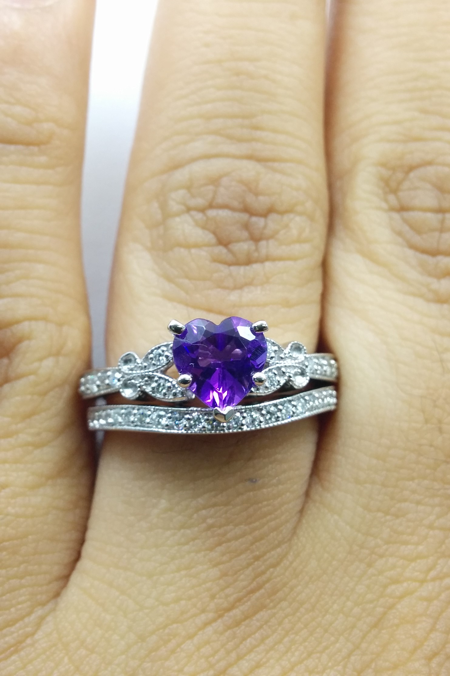 European Engagement Ring Amethyst Butterfly Vintage Engagement