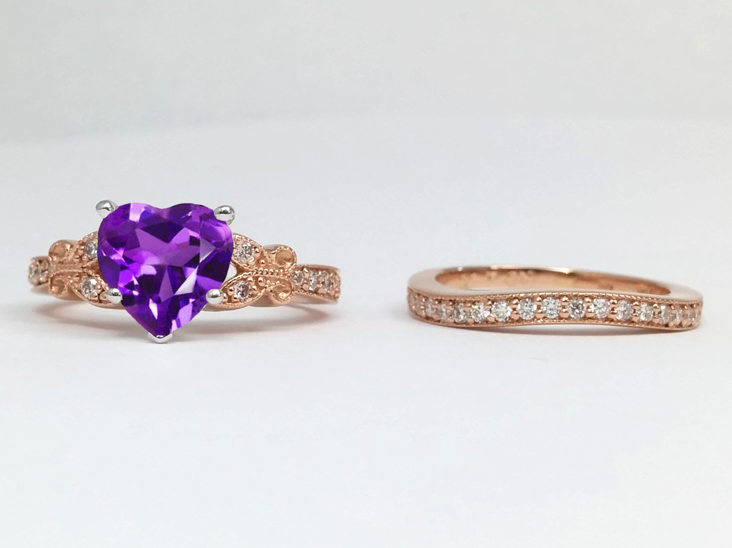 Amethyst Butterfly Vintage Bridal Set In 14K Rose Gold