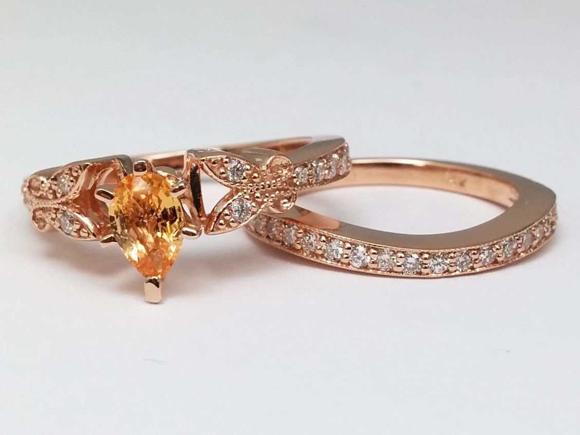 Peach Champagne Sapphire Butterfly Vintage Engagement Ring Matching Wedding Band 037 Tcw In 14K
