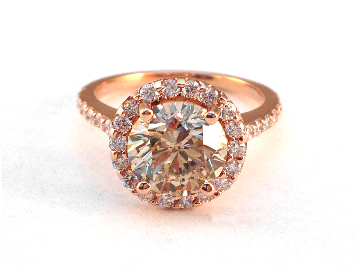 European Engagement Ring Rose Gold Champagne Round Diamond Halo
