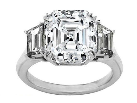 Asscher Diamond Engagement Ring with Trapezoid Diamond side stones 0.45 tcw. Like Vanessa Minnillo's in 14K White Gold