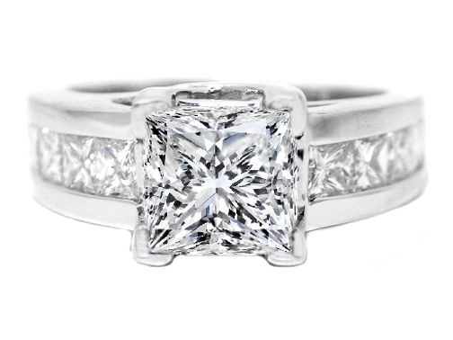 Princess Cut Diamond Trellis Engagement ring wide Princess Diamonds Channel Set band 1.16 tcw.