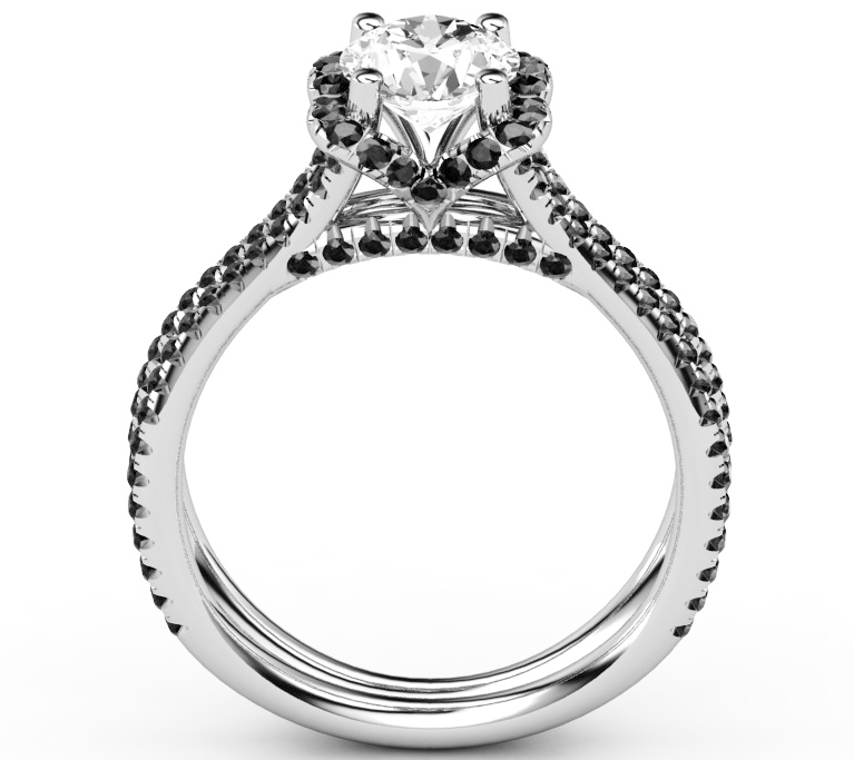 Engagement Ring Black Diamond Band in 14K White Gold
