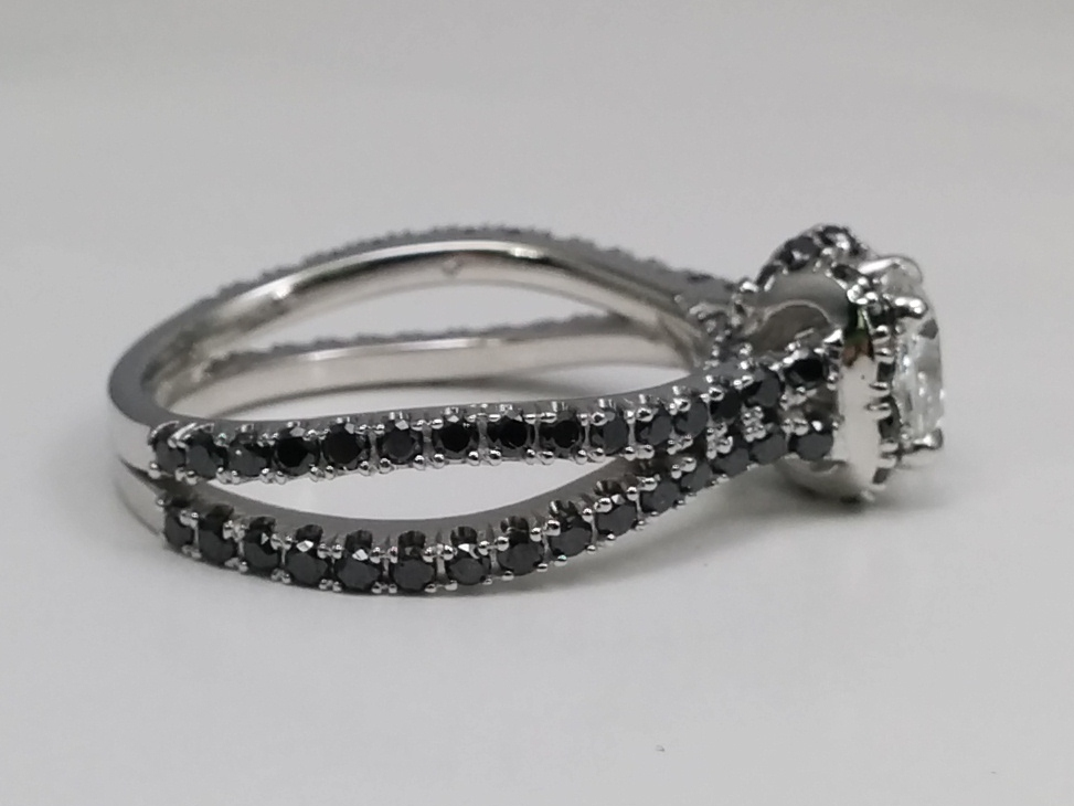 Princess Cut Diamond Engagement Ring Black Diamond Band in 14K White Gold