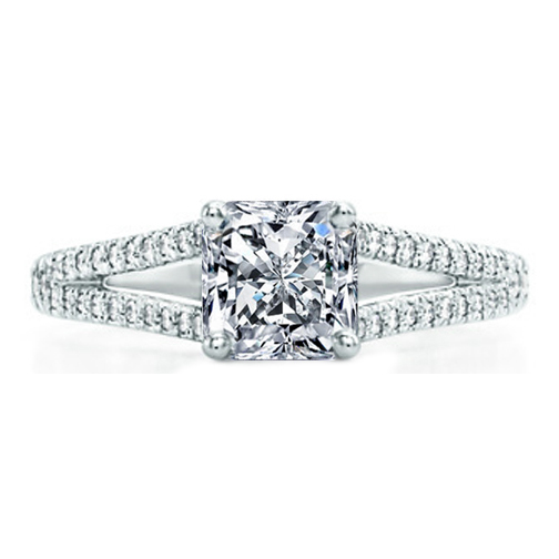 Radiant Diamond Engagement Ring, Trellis Curved Pave Split Band, 0.48 tcw. In Platinum