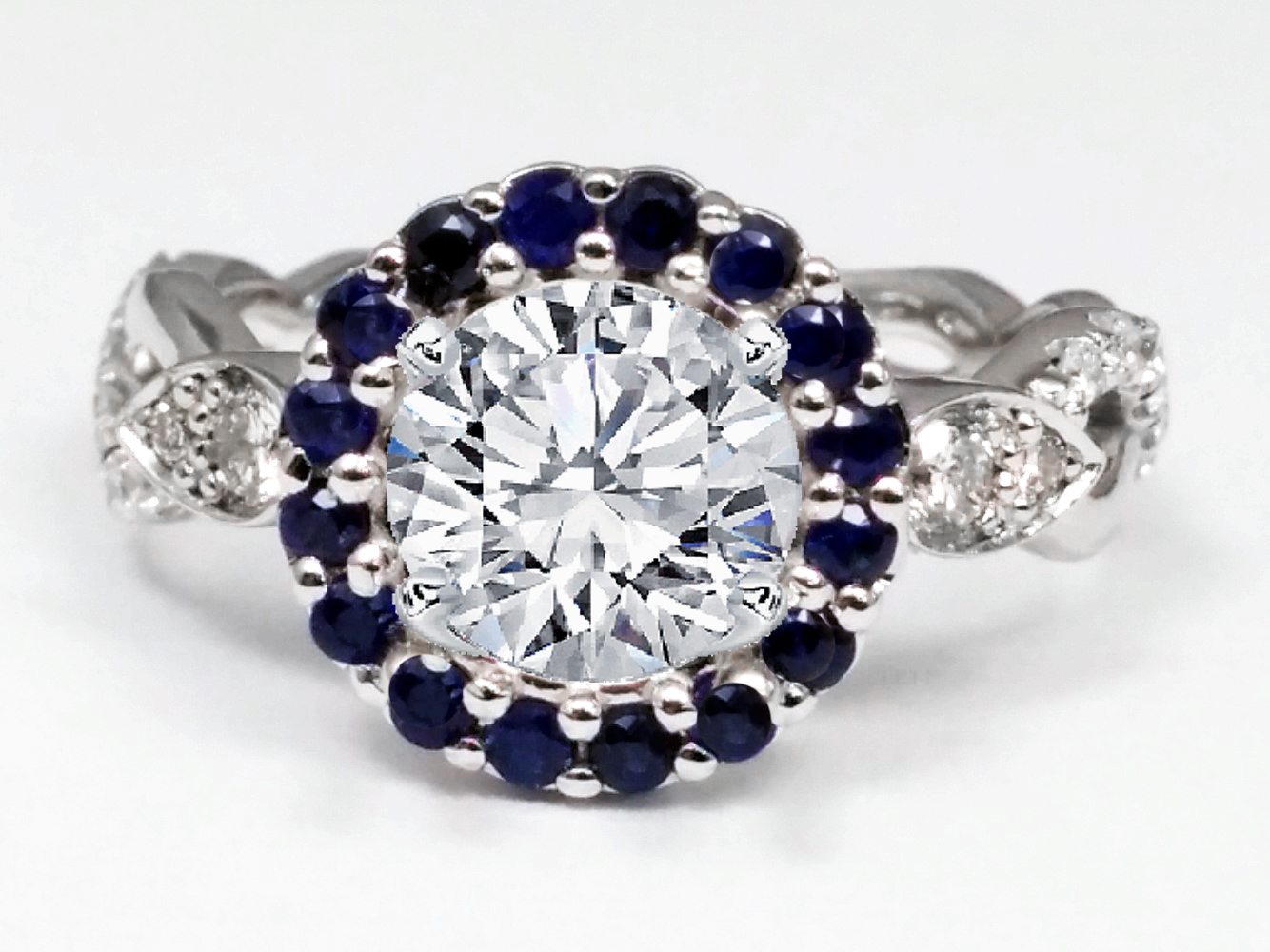 Round Blue Sapphire Halo Engagement Ring, Twisted Pave Band, in White Gold