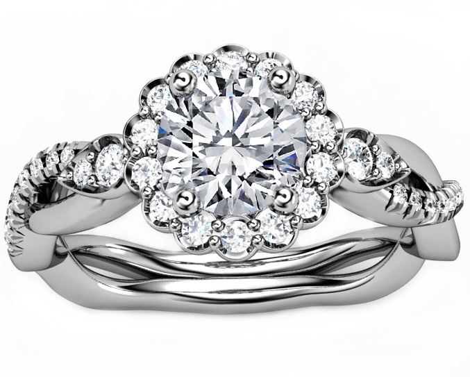 Engagement Ring Diamond Halo Engagement Ring Twisted Pave Band in 14K White