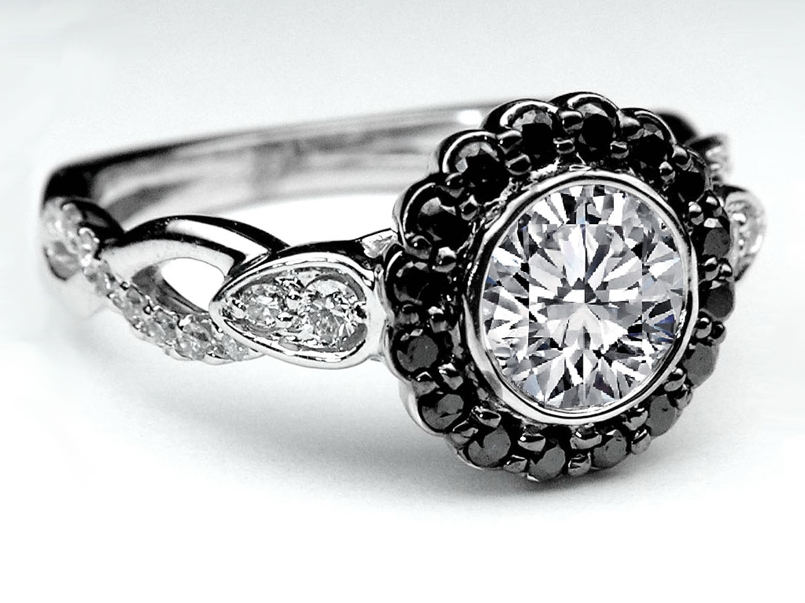 Black Diamond Halo Bezel Engagement Ring Twisted Pave Band In 14k White  Gold