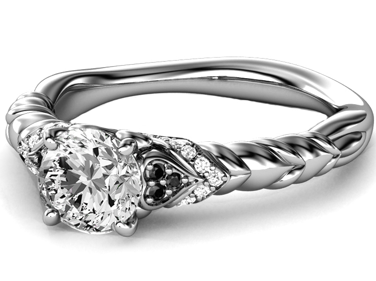 Black & White Diamond Rope Engagement Ring in 14K White Gold