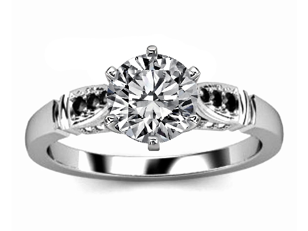 Engagement Ring Black White Diamond Cathedral Engagement Ring In