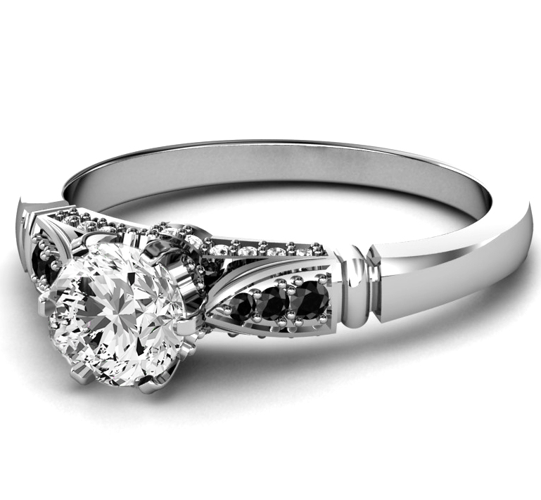Black & White Diamond Cathedral Engagement Ring in White Gold