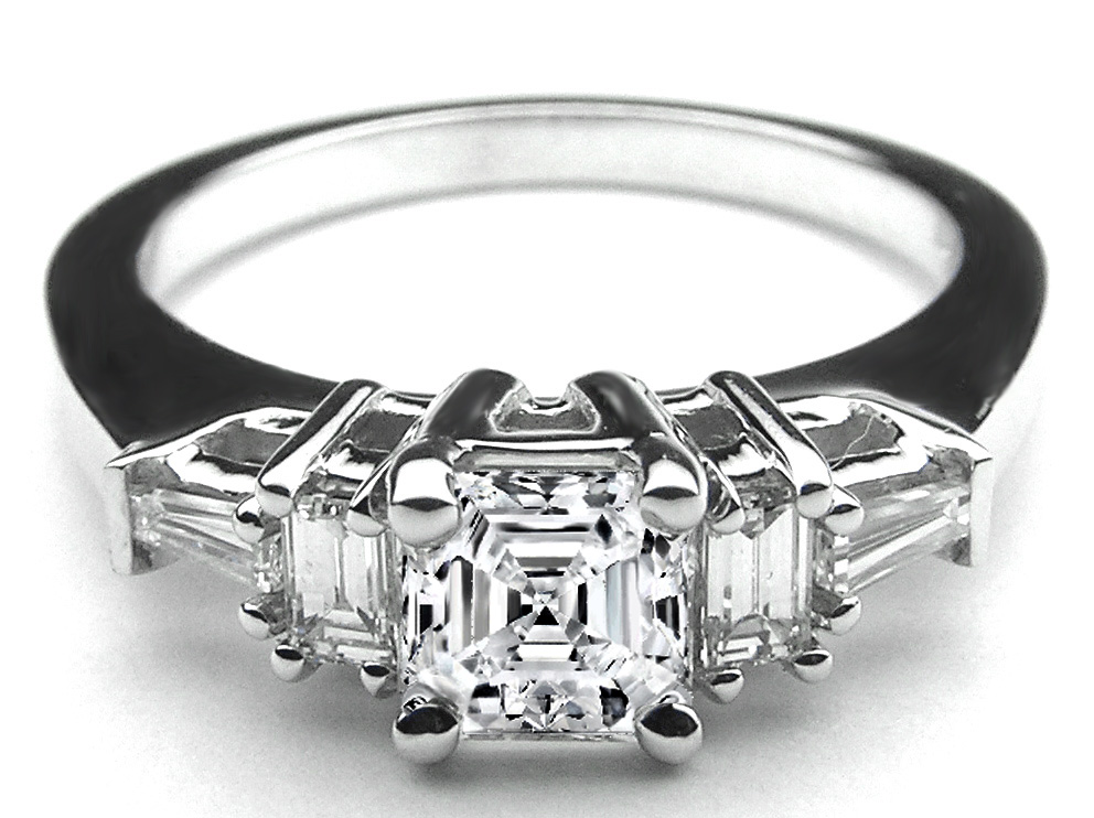 Asscher Diamond Engagement Ring Baguette side stones in 14K White Gold