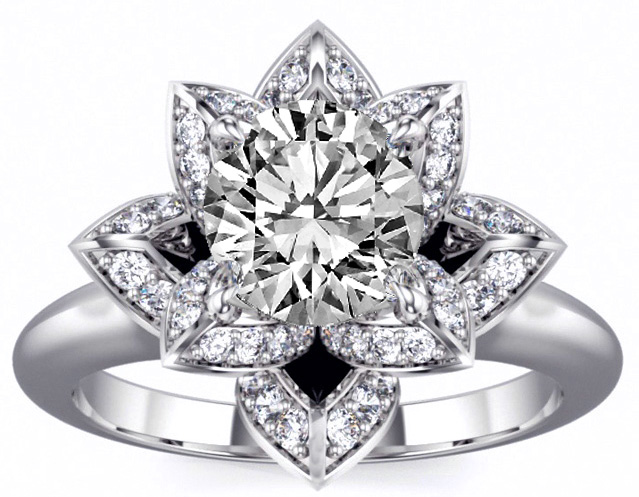 Lotus Round Diamond Engagement Ring in 14K White Gold