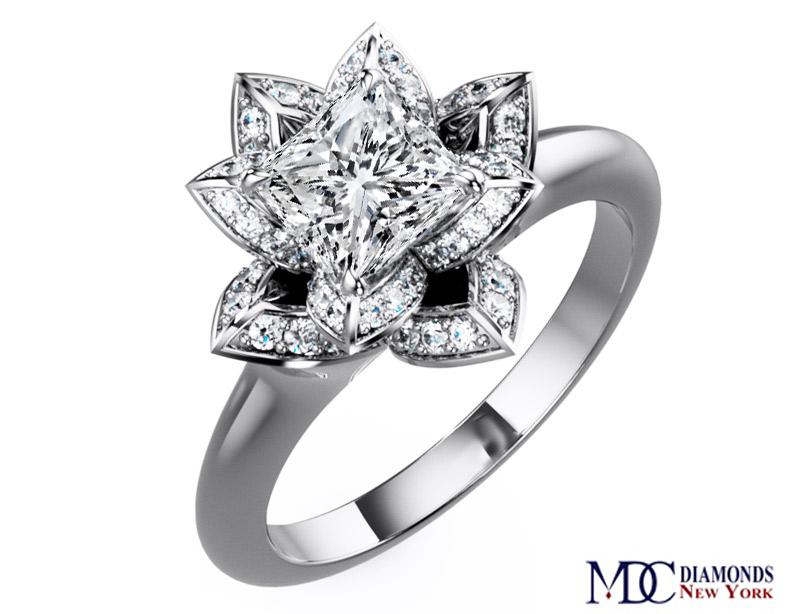 Engagement Ring Lotus Princess Diamond Engagement Ring in 14K
