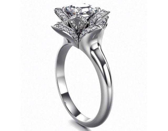 engagement ring lotus princess diamond engagement ring in 14k white gold es1006wg - Lotus Wedding Ring