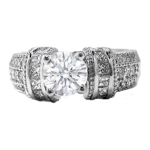 Engagement Ring with 3 rows round diamonds and horizontal princess diamonds 0.76 tcw.