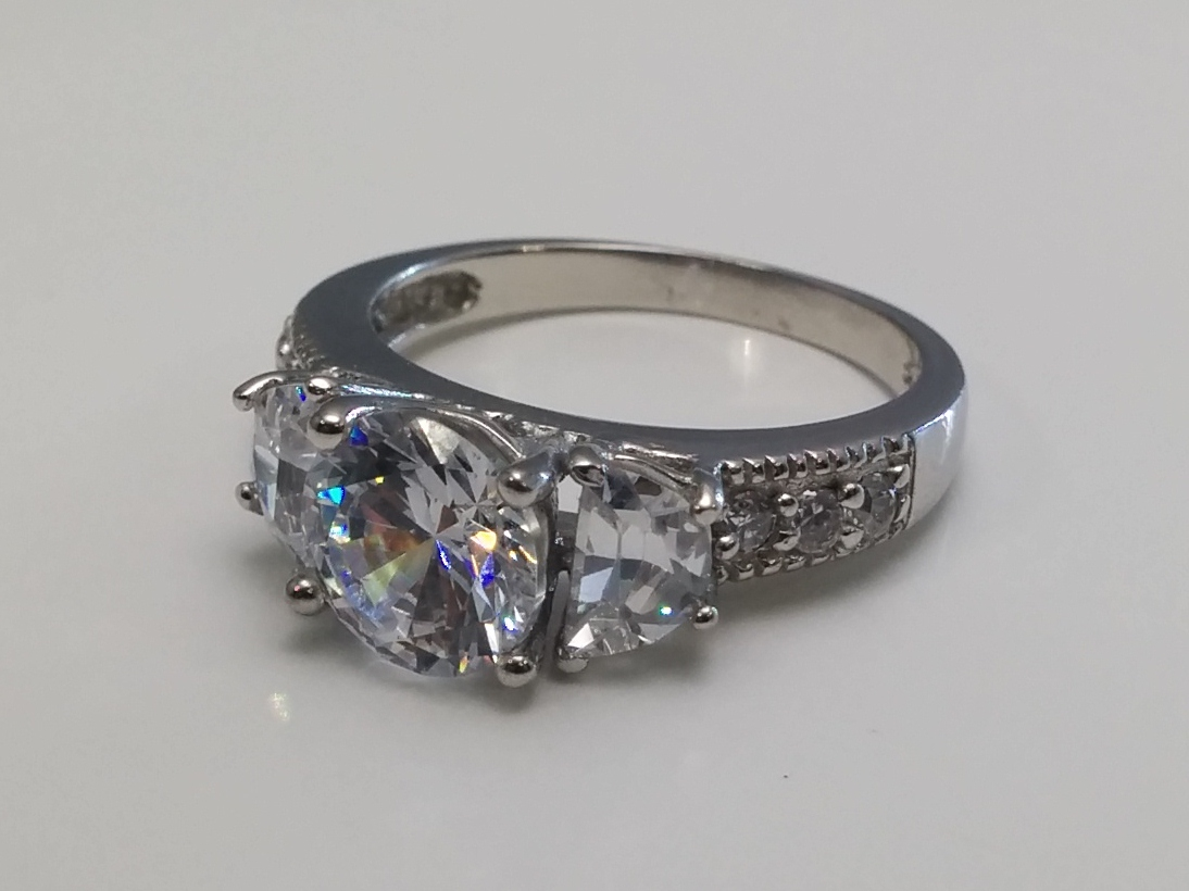 Three Stone Round & Half Moon Diamond Engagement Ring