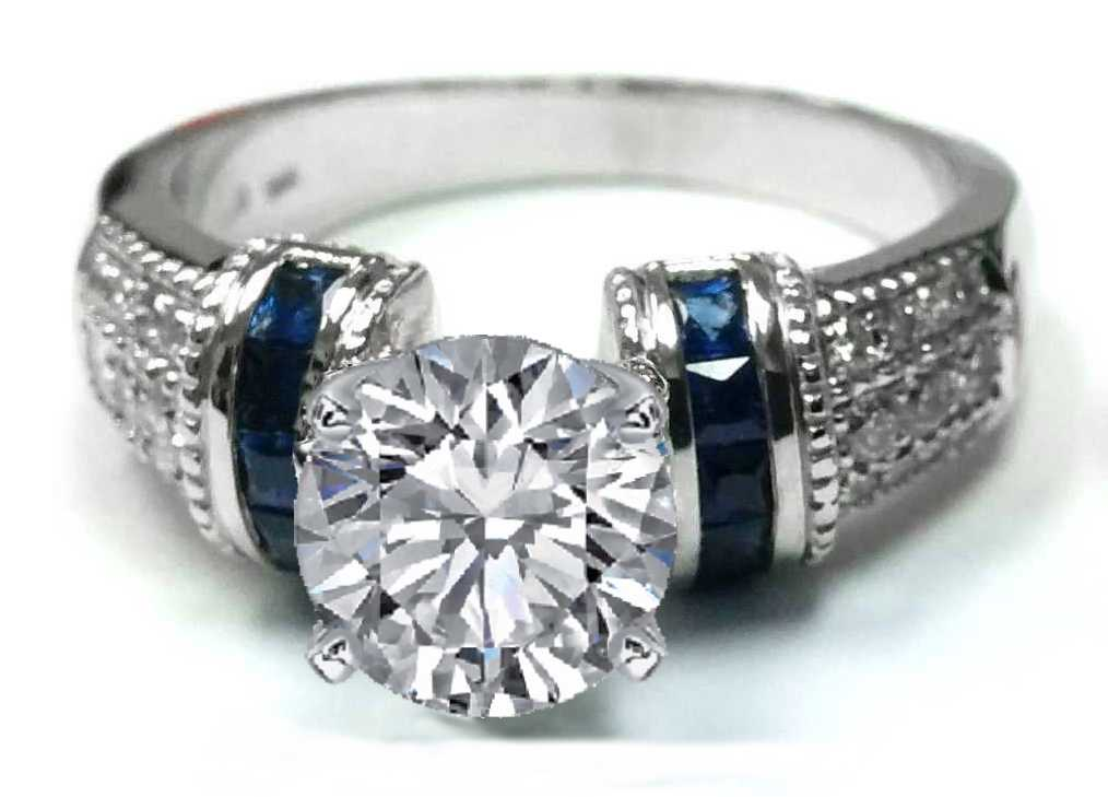 Diamond Engagement Ring Square Blue Sapphire Band in 14K White Gold