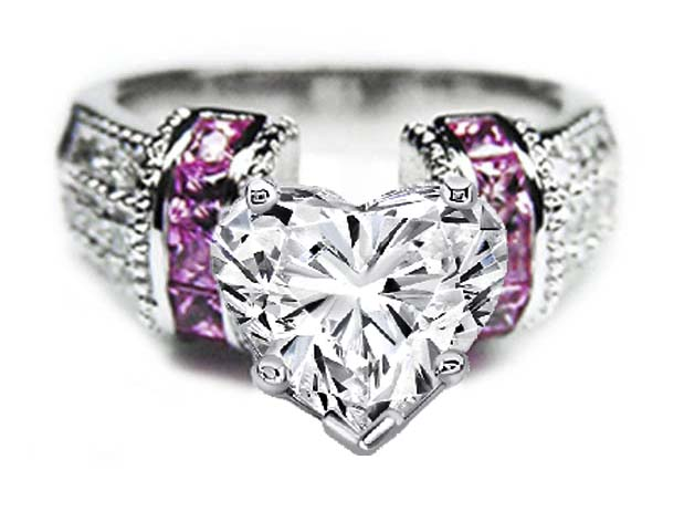 Heart Shape Diamond Engagement Ring Square Pink Sapphire Band in 14K White Gold