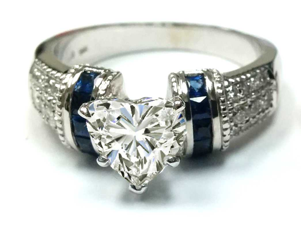 Heart Shape Diamond Engagement Ring Square Blue Sapphire Band in 14K White Gold