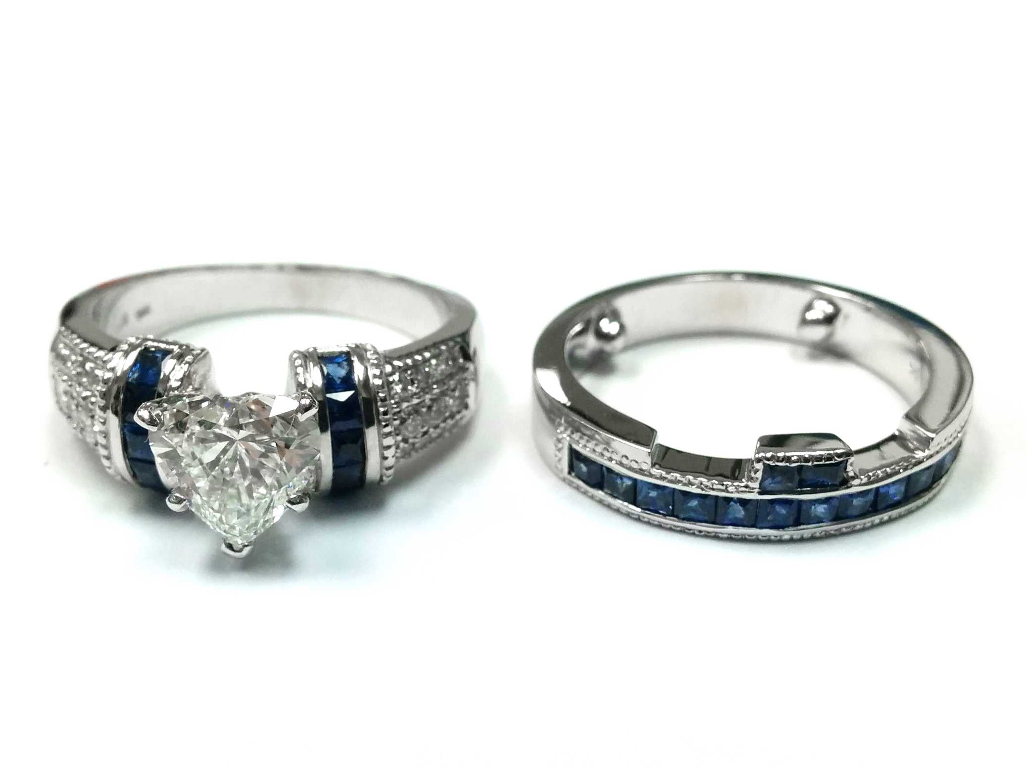 Heart Shape Diamond Bridal Set, Square Blue Sapphires Accent