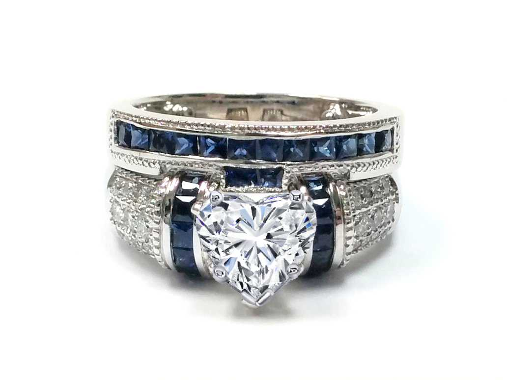 Heart Shape Diamond Bridal Set, Square Blue Sapphires Accent in 14K White Gold