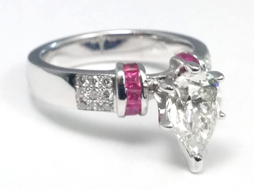 Pear Diamond Engagement Ring Square Pink Sapphire Band