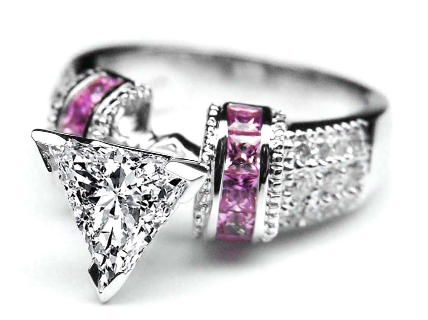 Engagement Ring Trillion Diamond Engagement Ring Square Pink