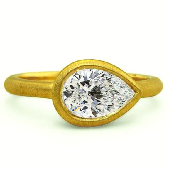 Pear Shape Horizontal Engagement Ring in Yellow Gold