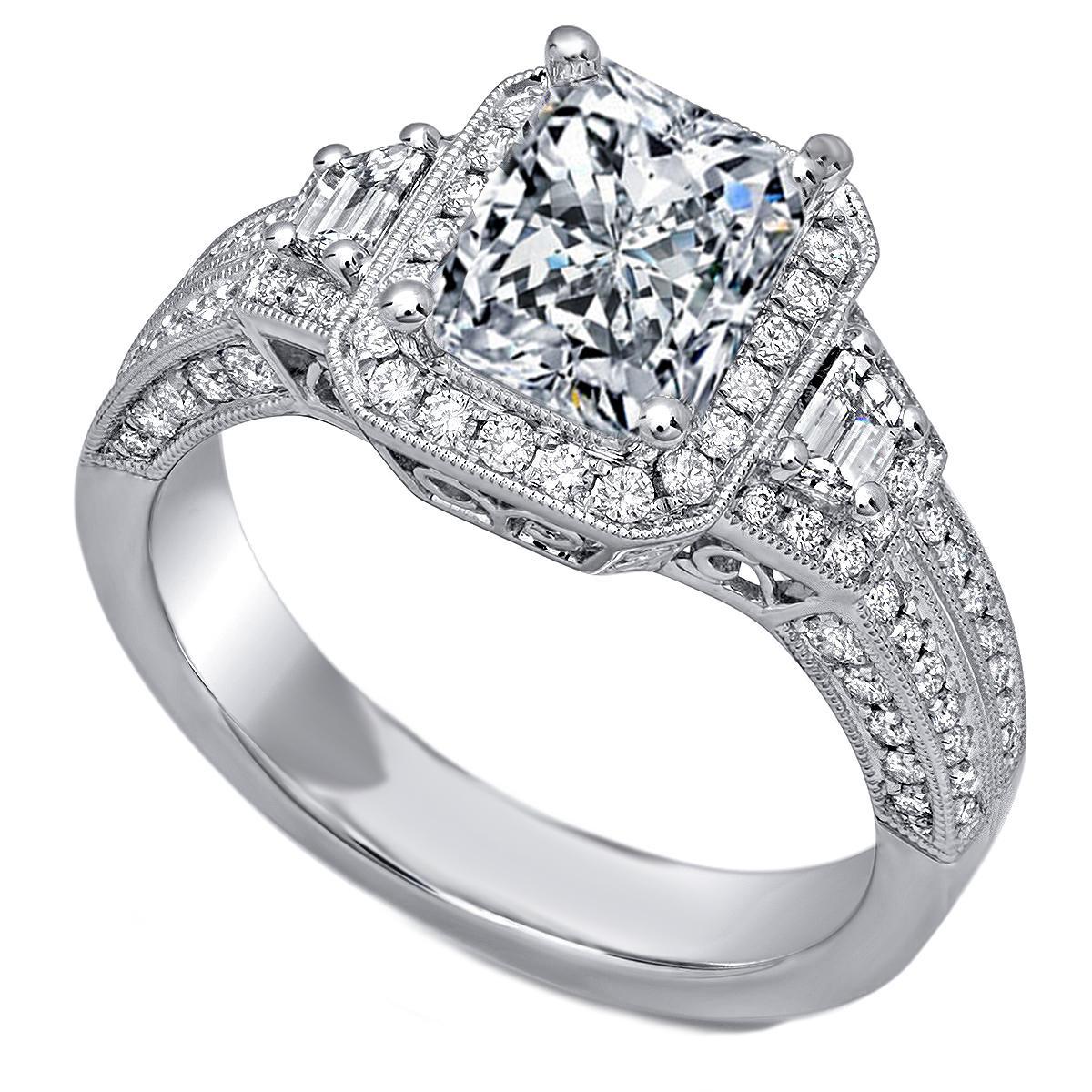 Cushion Diamond Halo Engagement Ring Trapezoids Side Diamonds