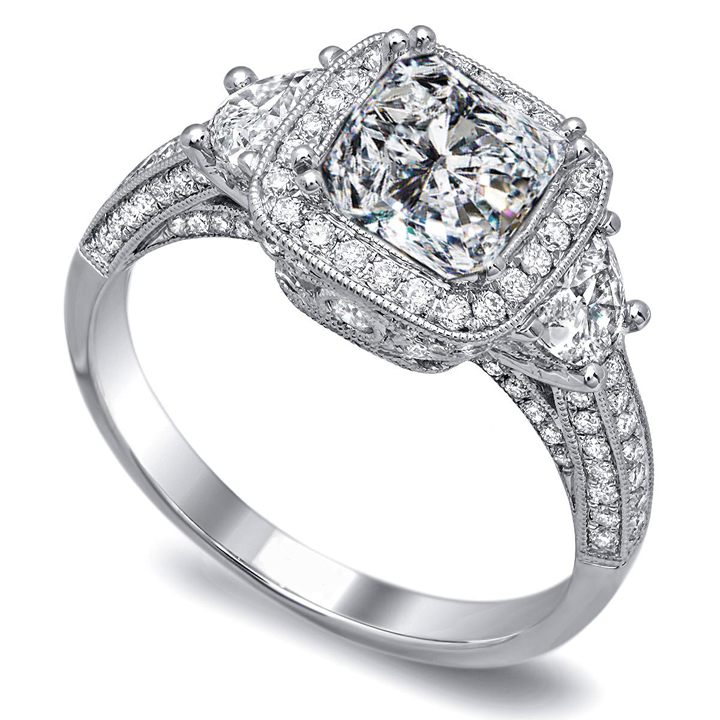 Wedding rings diamond  Engagement Ring -Cushion Diamond Engagement Ring Half moon side ...