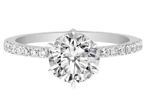Petite Diamond Petite Engagement Ring Pave band in 14K White Gold