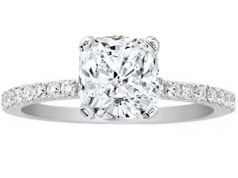 Cushion Cut Diamond Engagement Ring Pave Band in 14K White Gold